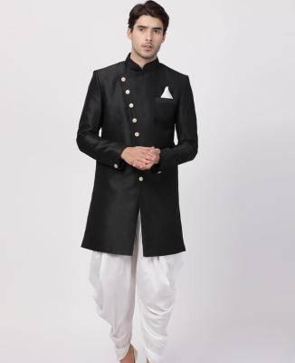 Silk Black Mens Sherwani