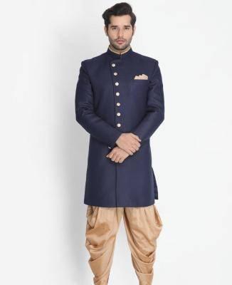 Silk Dark Blue Mens Sherwani