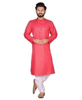 Cotton Pink Mens Kurta Pajama