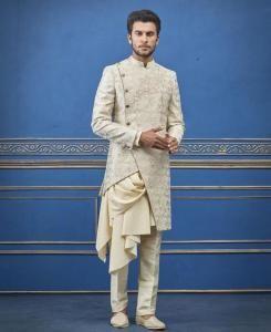 Embroidered Satin Cream Mens Sherwani