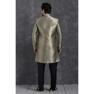 Silk Grey Mens Sherwani