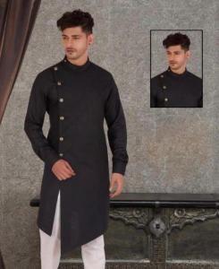 Cotton Black Mens Kurta Pajama