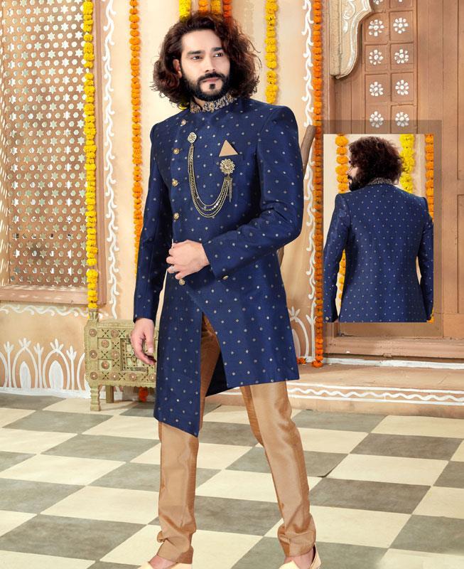 HandWorked Silk Navy Blue Mens Sherwani