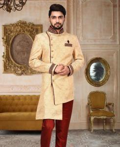 HandWorked Silk Gold Mens Sherwani