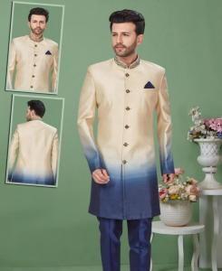 Dupion Silk Yellow  ,  Blue Mens Sherwani