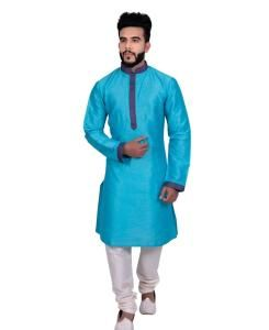 Silk Blue Mens Kurta Pajama