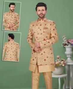 Dupion Silk Yellow Mens Sherwani