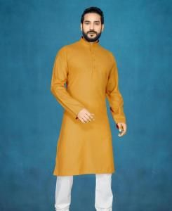 Cotton Musterd Mens Kurta Pajama