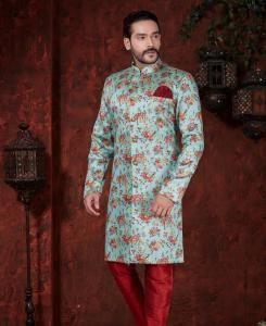 Printed Silk Sky Blue  ,  Maroon Mens Sherwani