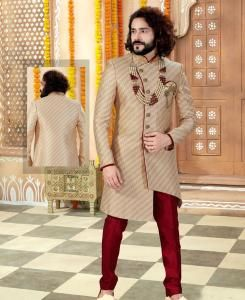 Silk Gold Mens Sherwani