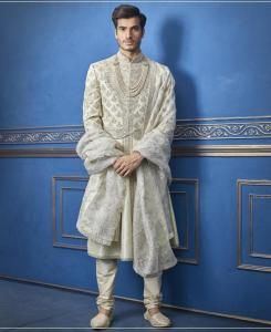 Embroidered Silk Blue Mens Sherwani
