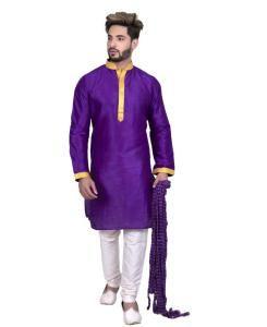 Silk Purple Mens Kurta Pajama