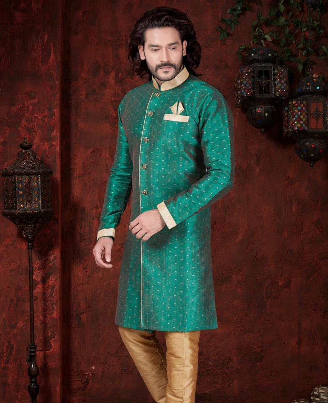 Silk Green Mens Sherwani