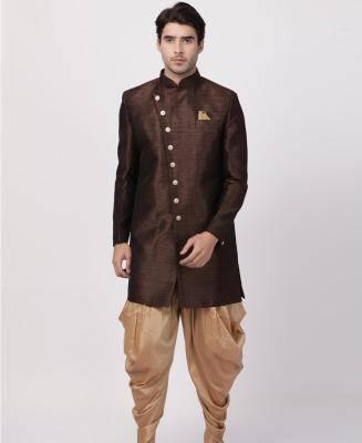 Silk Brown Mens Sherwani