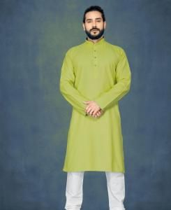 Cotton Light Green Mens Kurta Pajama