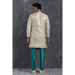 Silk Teal  ,  Cream Mens Sherwani