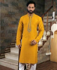 Silk Yellow Mens Kurta Pajama
