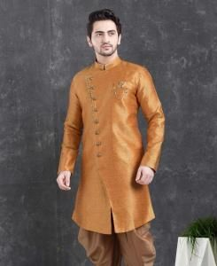 Silk Orange Mens Sherwani