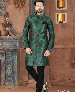 Printed Silk Green Mens Sherwani