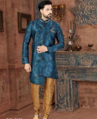 Printed Silk Blue Mens Sherwani