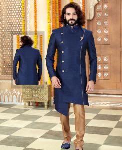 Silk Navy Blue Mens Sherwani