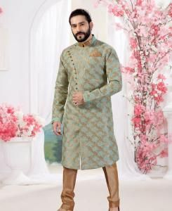 Silk Pista Green Mens Sherwani