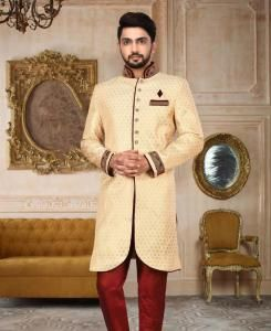 HandWorked Silk Cream Mens Sherwani