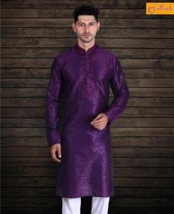 Cotton Purple Mens Kurta Pajama