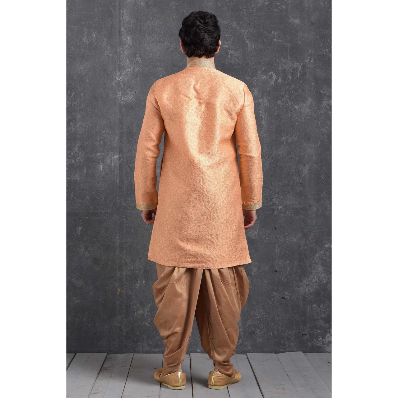 Silk Peach Mens Sherwani