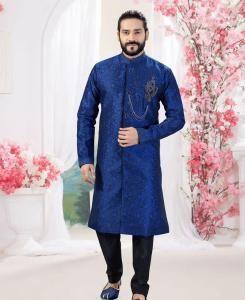 Silk Royal Blue Mens Sherwani
