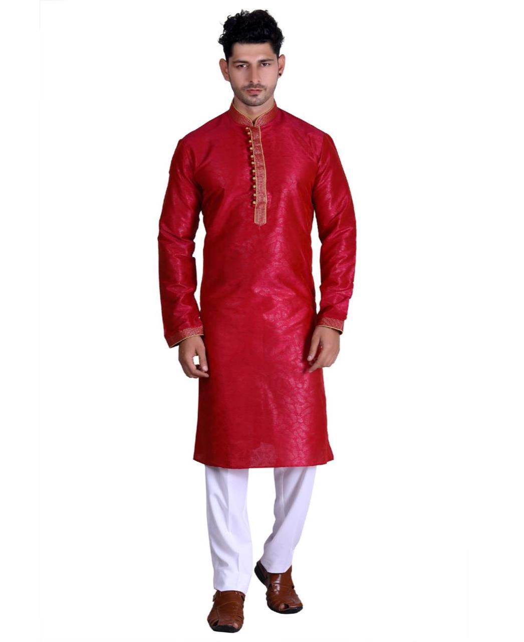 Cotton Red Mens Kurta Pajama
