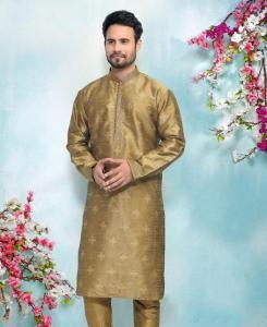 Silk Copper Gold Mens Kurta Pajama