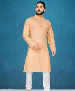 Cotton Gold Mens Kurta Pajama