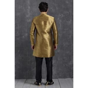 Silk Brown  ,  Gold Mens Sherwani