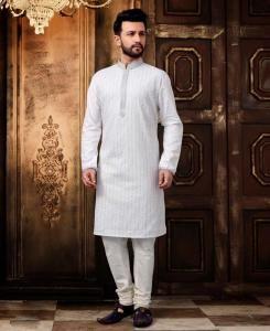 Cotton White Mens Kurta Pajama