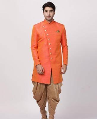 Silk Orange Mens Sherwani