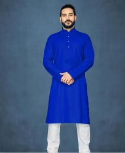 Cotton Royal Blue Mens Kurta Pajama
