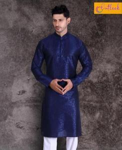 Cotton Neavy Blue Mens Kurta Pajama