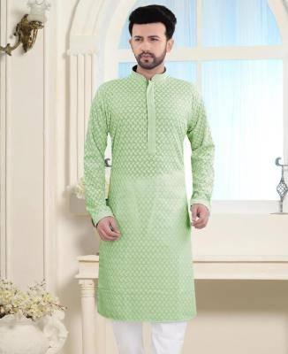 Embroidered Cotton Pastel Green Mens Kurta Pajama