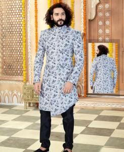 Printed Silk Grey Mens Sherwani