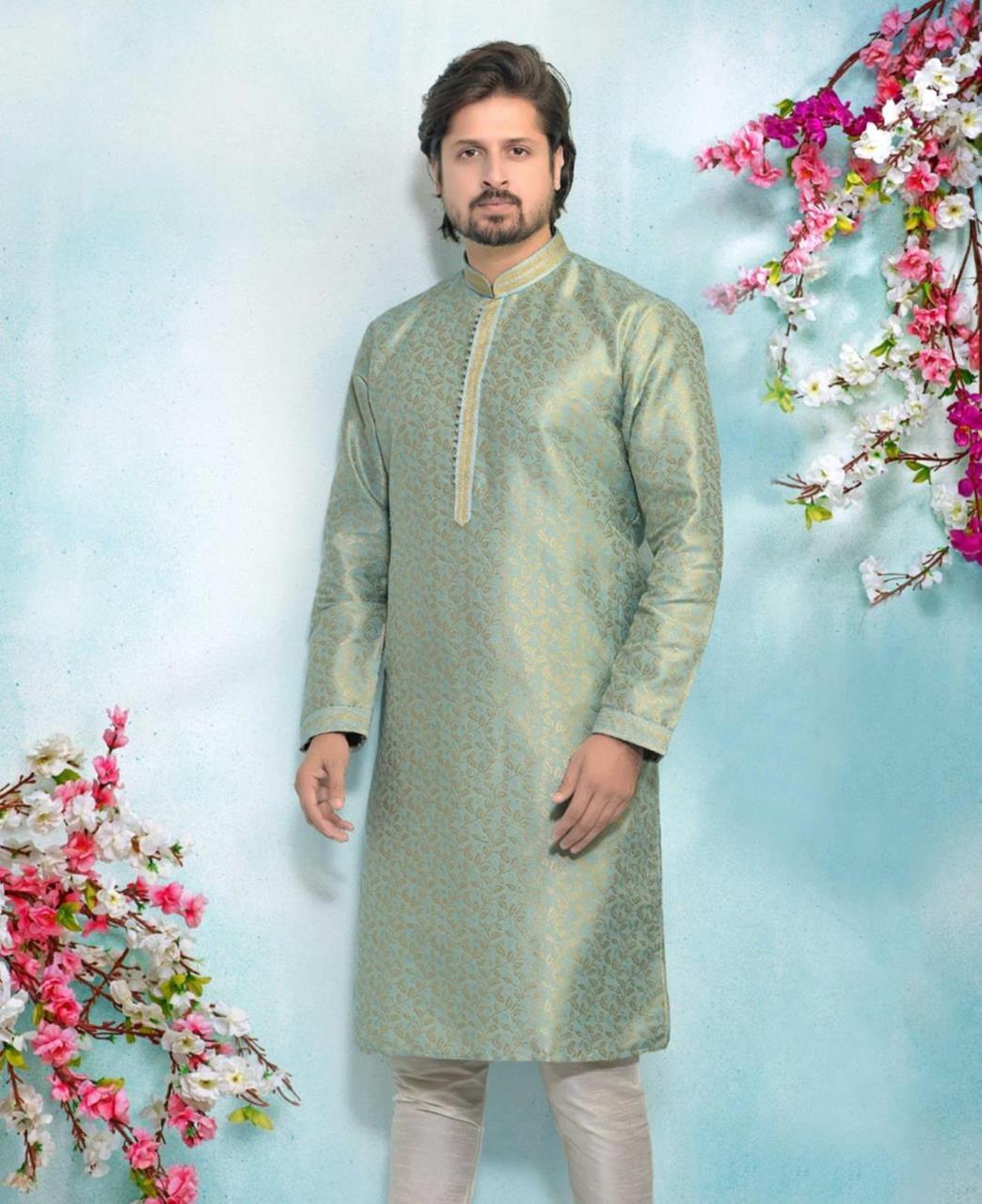 Silk Sea Blue Mens Kurta Pajama