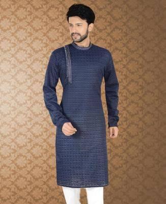Embroidered Cotton Dark Blue Mens Kurta Pajama