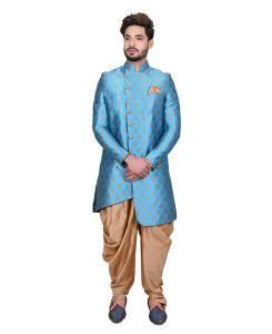 Silk Sky Blue Mens Sherwani