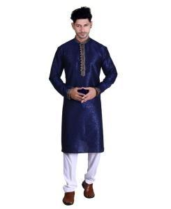 Cotton Navy Blue Mens Kurta Pajama