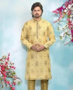 Silk Gold Mens Kurta Pajama