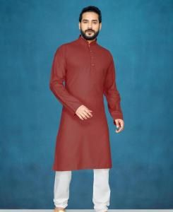 Cotton Maroon Mens Kurta Pajama