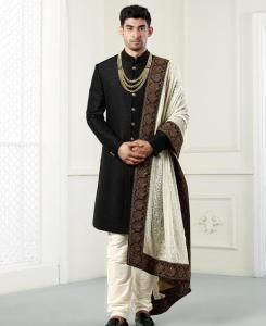Embroidered Silk Black Mens Sherwani