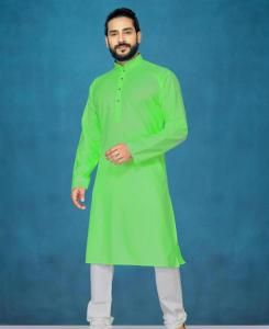 Cotton Parrot Green Mens Kurta Pajama
