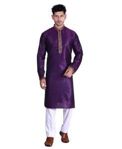 Cotton Violet Mens Kurta Pajama