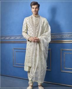 Embroidered Silk Light Pista Mens Sherwani